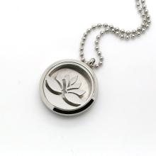 Круглый Серебряный цветок лотоса Ароматерапия Locket Духи диффузор ожерелье