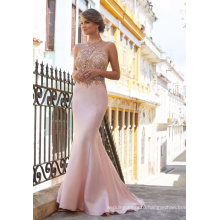 Halter Beaded Satin Mermaid Girl Clothes Garment Part Formal Prom Dress (42025)