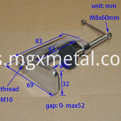 RTC0008 Chrome Plated Gooseneck Mirror Table Clamp Size