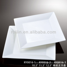 healthy special durable white porcelain flat square plate