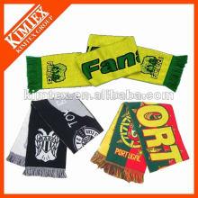Зимний акриловый вязаный футбольный шарф