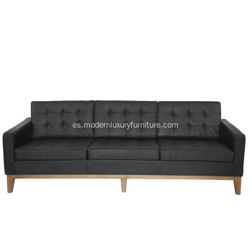 Florence Knoll Leather 3 seats Sofa Réplica