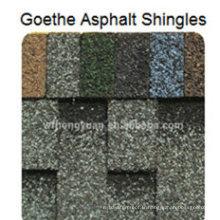 Bardeau d'asphalte de toit de Goethe / tuile colorée auto-adhésive de toit de fibre de verre / matériau de toiture de bitume avec ISO (12 couleurs)