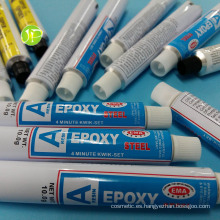 Adhesivo de epoxy pegamento tubos de tubos plegables de aluminio tubos de embalaje