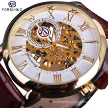 Forsining 052 Automatic Watch Men Sport Gold Mechanical Skeleton Watches Brand Mens Watch Leather Wristwatch Relogio Masculino