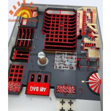 Aire de jeu pour trampolines grande taille rouge Sky Zone