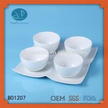 Petit bol en céramique avec plaque, cuvette en céramique certificant SGS / FDA / LFGB avec plaque, ensembles de cuvettes en porcelaine