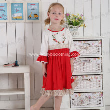 kids embroidered ruffle Christmas dress