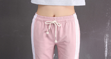 Womens Side Stripe Cotton Sports Pants
