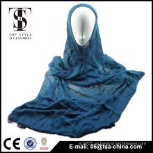 2015 bufanda vendedora caliente suave viscosa azul del hijib de la señora