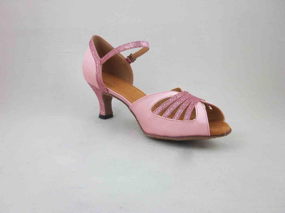 Ladies Pink Satin Salsa Shoes
