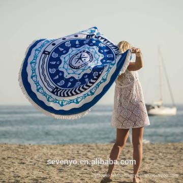 Custom Velour Urchin Round Patterned Round beach towel with Tassels Fringe BT-347 China Supplier
