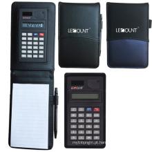 Caderno de couro com calculadora e memorando (LC801)