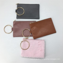 Simple Small Metal Big Ring Makeup Brushes Pouch Cheap Promotional Gift Packaging Bag PU Leather Cosmetic Bag