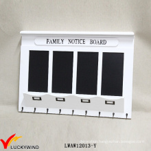 Family Notice Board Vintage White Wooden Wall Rack with Blackboard