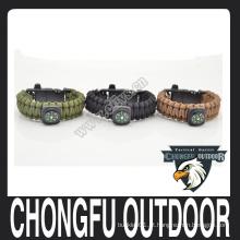 Camping 2016 equipamento de sobrevivência 550 braceletes com compasso