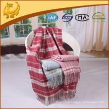High Quality Plaid Style Travel Throw Atacado Pure Wool Blanket For Sofa