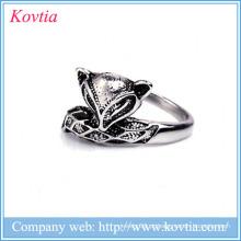 Fornecedor China Fox forma anel de moda em massa de venda Anéis de aço inoxidável Jóias por grosso