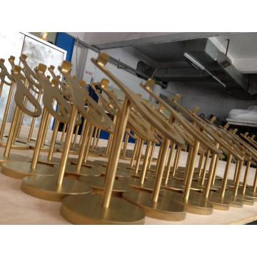 Kleidung Pop Metall Edelstahl Eletroplating Gold Schuhe Display Rack Display Regal