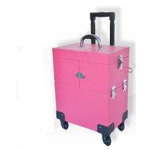 Carretilla de la belleza del caso de Cusmetic Modificado para requisitos particulares PU Pink