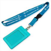 Convention Leder PU Name / ID Karte Abzeichen Reel Inhaber benutzerdefinierte Lanyard für ID Badge (NLC010)