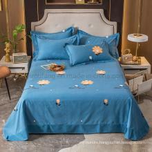 Luxury Sheet Set Fashion Style Wrinkle Free for Single Deep Sky Blue Printed Bed Linen