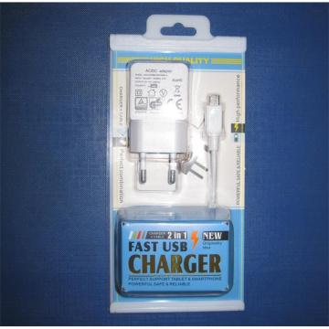 Adaptateur de chargeur USB avec boîte de conditionnement 2 en 1 pour téléphones portables
