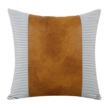 Decorative Throw Pillow Covers for Couch Sofa Stripe Faux Leather Accent Pillow Cover Modern Decor Pillow Case 18 x 18 Inch