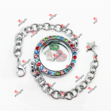 Customized Fashion 30mm Colorful Crystal Round Lockets Chain Bracelet (CRL50925)
