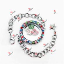 Подгонянный браслет цепи цепей шармов способа 30mm цветастый кристаллический круглый (CRL50925)