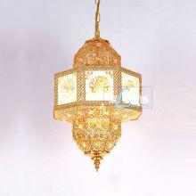 Marroquí pequeño metal oro linterna LT-046