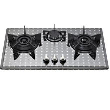 Cuisinière à gaz à 3 brûleurs en acier inoxydable