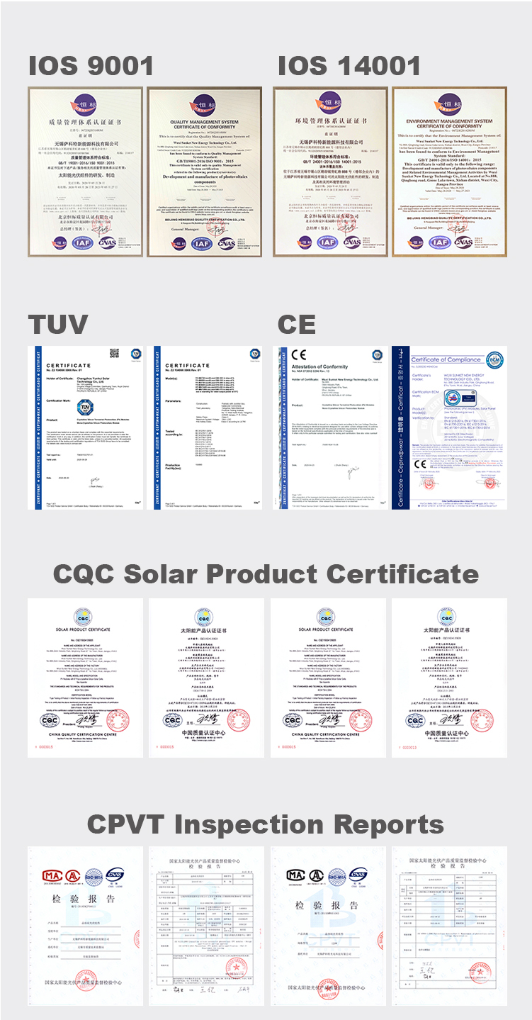 Certifications for PV modules