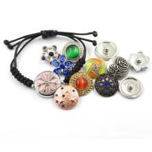 18mm plata joyas de moda DIY botones de cuero pulsera tejida