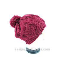 Ladies colorful acrylic knitted pom pom beanie hat
