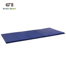 Estera de ejercicio de gimnasio azul gruesa plegable