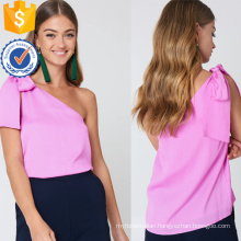 Latest Design 2019 Pink One-Shoulder Sleeveless Summer Top Manufacture Wholesale Fashion Women Apparel (TA0084T)