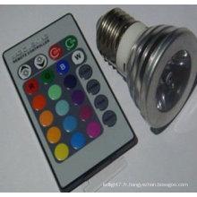 Télécommande 3w led rgb spotlight e27