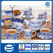 Гуандун оптовая благодать керамический чай посуда синий и белый 19шт для 6 человек