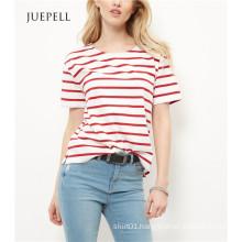 Red Stripe Boxy Women T Shirt