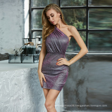 Weixin Womens Clothing New Style Mini One Shoulder Ruched Metallic Tight Wrap Sparkle Dress