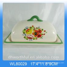 Decal Flower Design Keramik Butter Dish mit Deckel
