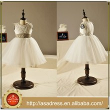 FL1001 Ivory Tulle cinturón de cristal joya vestidos de baile para niñas longitud de tobillo preciosa niña vestidos