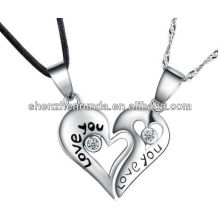 Novo produto coração pingente separado para o amante livre gravado jóias