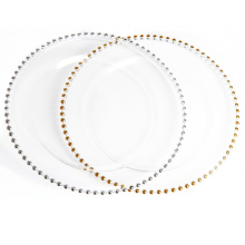 Gold Rimmed Beaded Glass Charger Plate