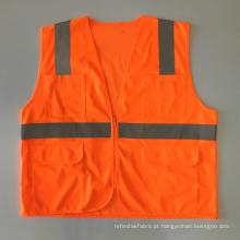 Multi bolsos zipper malha sólida colete de segurança de tecido com fita reflexiva ANSI 107