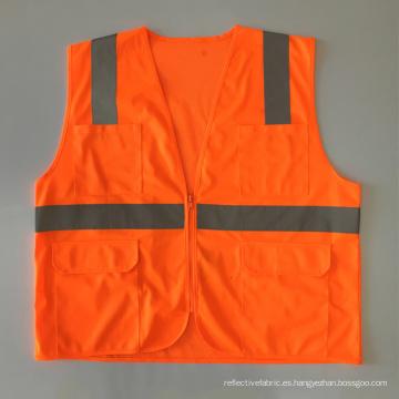 Multi bolsillos cremallera malla de tela sólida chaleco de seguridad con cinta reflexiva ANSI 107