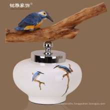 regular round shape modern pottery vases home decorative flower pottery vases with wood handle