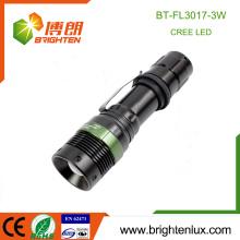 Factory Hot Sale 1 * 18650 Batterie à commande électrique 3 Modes Light Zoomable Aluminium Bright 3watt led Rechargeable Cree Flashlight Tactical