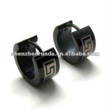 Preto 316L S.Steel brincos para meninos